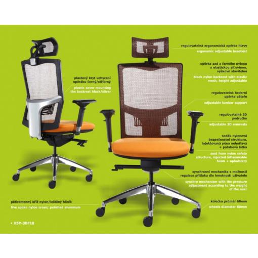 Síťovaná židle Emagra X5 - konfigurace X5P-3BF18
