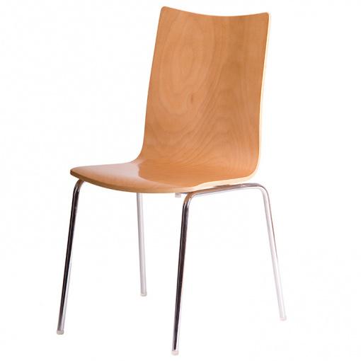 Jídelní dřevěná židle RITA - dezén buk, nohy chrom