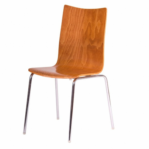 Jídelní dřevěná židle RITA - dezén třešeň, nohy chrom