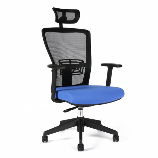 Kancelářská židle s podhlavníkem THEMIS - z úhlu, modrý sedák