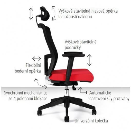 Kancelářská židle s podhlavníkem THEMIS - stavitelnost