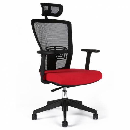 Kancelářská židle s podhlavníkem THEMIS - z úhlu, červený sedák