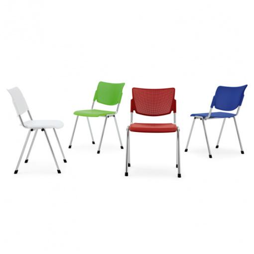 Jednací čalouněná židle MIA - chromová kostra, barvy plastů