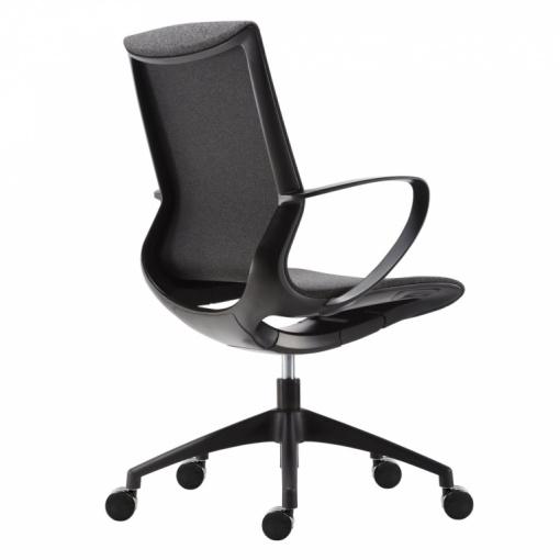 Kancelářská síťovaná židle VISION BLACK/NET DARK GREY - černý plast/tmavě šedá síť