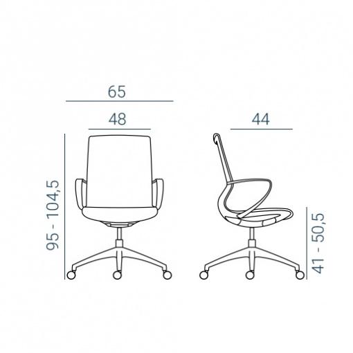 Kancelářská síťovaná židle VISION - rozměry