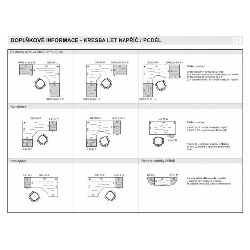 příklady sestav - kresba let napříč/podél