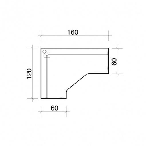 Stůl rohový ergo pravý GEV 60 P - parametry