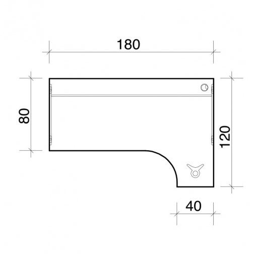 Stůl rohový ergo levý GE 1800 L - parametry
