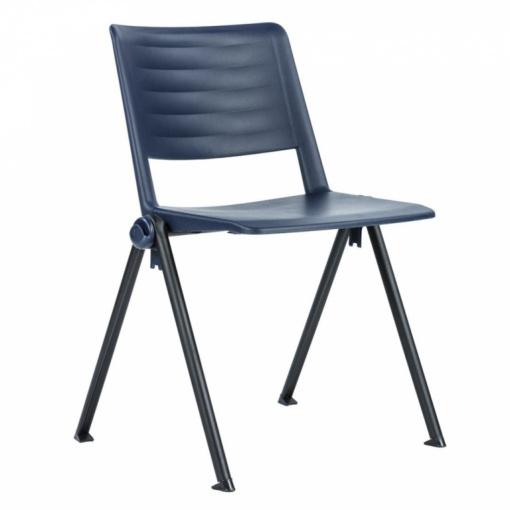 Konferenční plastová židle 2200 RAVE PN - černý lak nohou, modrý plast P01