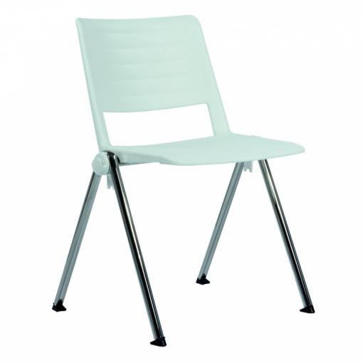 Konferenční plastová židle 2200 RAVE PC - chrom nohou, bílý plast P06