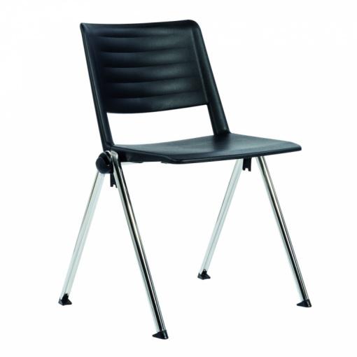 Konferenční plastová židle 2200 RAVE PC - chrom nohou, černý plast P03