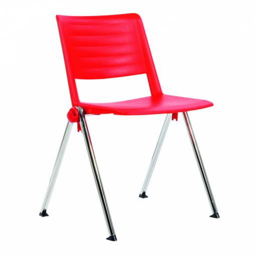 Konferenční plastová židle 2200 RAVE PC - chrom nohou, červený plast P04