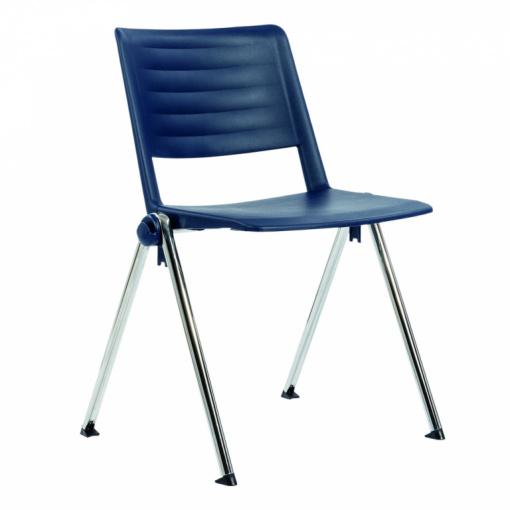 Konferenční plastová židle 2200 RAVE PC - chrom nohou, modrý plast P01
