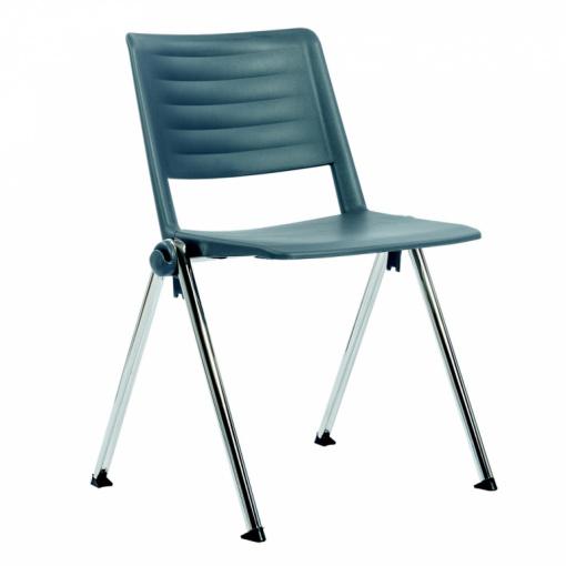 Konferenční plastová židle 2200 RAVE PC - chrom nohou, šedý plast P02