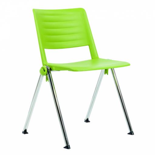 Konferenční plastová židle 2200 RAVE PC - chrom nohou, zelený plast P05