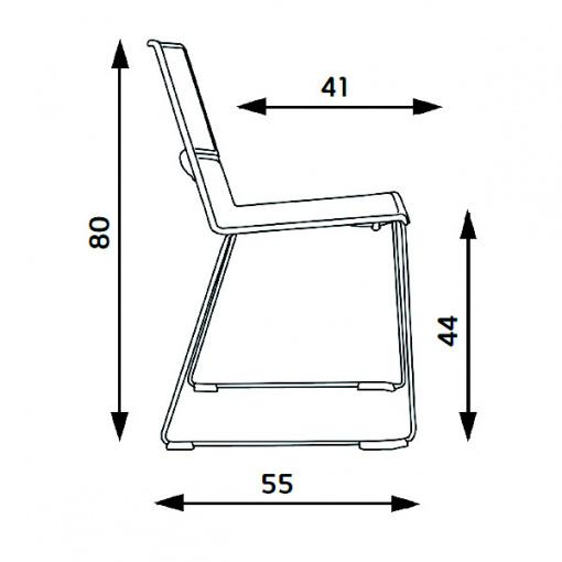 Konferenční plastová židle DUETTO SÁNĚ - rozměry