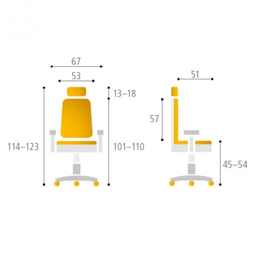 Kancelářská židle s podhlavníkem THEMIS - parametry